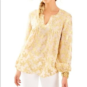 Lilly Pulitzer COLBY SILK METALLIC TOP